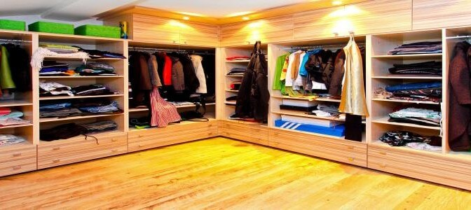 Big built in wardrobe room with open shelves - All About Kitchens
