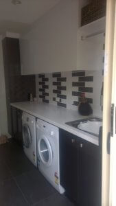 Laundry Renovation - White and Brown colour scheme - Sunshine Coast